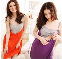 Wholesale 2014 Fashion Maternity Dresses Summer Pregnant Women s strap feeding dress Mother Clothes Comfortable Nursing Dress Cotton Purple Orange