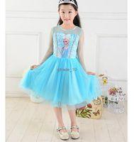 TuTu Summer Pleated 2014 Elsa Dress Custom made Movie Cosplay Dress Summer Girl Dress Frozen Princess Elsa Costume for Children pet67 200pcs