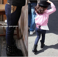 Wholesale Autumn Bootcut Children Thin Jeans Kids Denim Clothing Baby Girls Pink Sequins Stretch Jeans