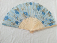 Wholesale 20X Chinese Silk folding Bamboo Hand Fan Fans Art Handmade Flower Popular Gift