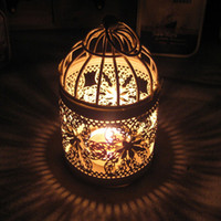 Wholesale The grocery European pastoral style bird cage type iron lantern Creative Wedding gift Candle Holders Metal Candlestick Candle Hold