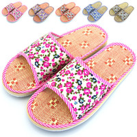 Wholesale The Summer small Suihua flax mat home slippers indoor floor couples Home Furnishing slippers men s sandals
