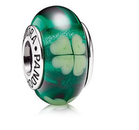 Wholesale 925 Sterling Silver and Green Clover Murano Glass Charm Bead For Pandora Bracelet