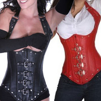 Women Bodysuit Bustiers & Corsets Faux Leather Under Bust Corset Black Red Bondage Fetish Goth Club Rave