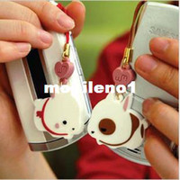 3.5*3.5cm   Wholesale-Free Shipping! Min. Order is 10USD(Can Mixed Order) Fashion lovers love heart rabbit cell phone straps mobile phone chain