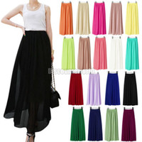 Polyester Above Knee Women New Women Chiffon Pleated Elastic Waist Double Layer Long Maxi Full Length Skirt 18 Colors
