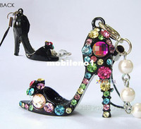 Yes Lucky Clover Jewelry PU Wholesale-Free shipping,Min order 15$ (Mixed order) Popular Gorgeous Sexy Modern Lady High-heeled Shoes Rhinestone Charm Cell Phone Strap