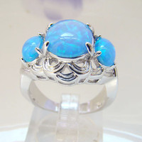 With Side Stones Mexican Women's Beautiful ! Best Quality Blue Opal Wedding Rings Fashion Jewelry Women's Opal Ring Size #6,8 Free Shipping