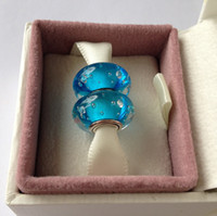 Wholesale Sterling Silver Aqua Blue Fizzle Water Murano Glass Charm threaded Bead For Pandora Bracelet