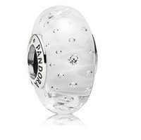 Wholesale Sterling Silver white color Fizzle Murano Glass Charm Bead For Pandora Bracelet