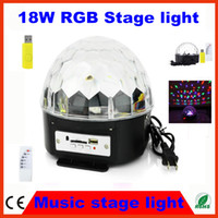 RGB Auto 110V 20PCS Fedex free low heat RGB MP3 Magic Crystal Ball LED Music stage light 18W disco DJ party Stage Effect lighting + U Disk Remote Control