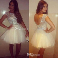 Wholesale 2015 Sexy Glaring Backless Tulle Mini Cocktail Party Dresses College Graduation Little White Crystals Short Prom Homecoming Gowns Cheap