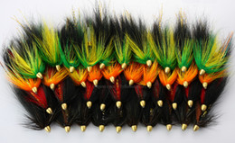 Wholesale 40Pcs Tube Flies Cone Heads Green Orange Salmon And Sea Trout Fly Fishing Lures