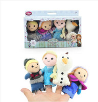 Wholesale new Frozen Finger Puppet Set of Four Stuffed Toys Finger toy Olaf Kristoff Anna Else Plush dolls set