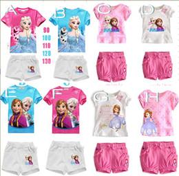 High quality baby suits elsa anna frozen clothing set 2 pc set girls frozen suits t shirt tops & short pants frozen shorts.drop shipping.