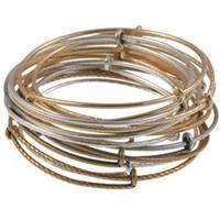 Charm Bracelets antique silver bangle - Vintage Alex Ani adjustable Bangle Wire Bracelet Antique Silver Gold Bronze Colors