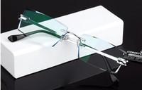 Wholesale men fashion trimming glasses titanium diamond cutting edge eyeglasses frame with aspheric super hard coated optical lenses