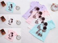 Wholesale Cute Girls Cartoon Pattern T shirt Brand Children Summer Clothing Kids Flower Short Sleeve Tee Tops Blouses