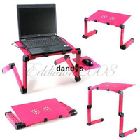 Lapdesks 52.7 cm Yes Wholesale - Free Shipping 360 Degree Portable Folding Metal Rose Red Laptop Computer Notebook Table Stand Desk Bed Sofa Tray Office,dandys