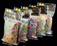 Unisex 12-14 Years Multicolor Quality Loom Bands Glitter Jelly Glow in the dark Dual Color Multi Color Rubber Bands Loom Band Wrist Bracelet (600 bands + 24 clips