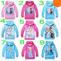 Wholesale 2014 yrs girls Hoodies Frozen outerwear Children s coats Kids apparel Cartoon sweatshirts