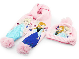 Wholesale 1406z new frozen Scarves caps Children s Accessories cartoon kids baby girls pink anna elsa Scarf hat