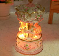 Wholesale 2014 new brand Pink Color High Quality Carousel music box wedding souvenir carousel musical box with lights best wedding gifts souvenirs