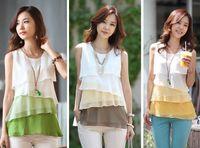 Women chiffon Round 2014 New Womens Fashion Tiered Career Casual Chiffon Sundress Tops Blouse