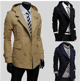 Wholesale 2014 Fashion new Men trench coats Slim fit casual trench coat upper garments outwear overcoat men s clothing clothes for autumn winter