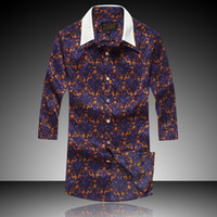 Men Silk Shirts Silk shirt in spring and summer 2014 men's new high-end luxury British style men's Slim-fifth sleeve shirt sleeve floral shirt
