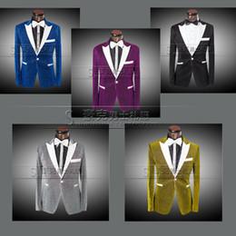Wholesale New Groom Costume Wedding Suit For Men Color Shiny Tuxedo Suits Slim Fit Dress Suits Brand Jacket Blazer Pants Plus Size