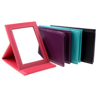 Wholesale 2014 Fashion Portable Foldable Leather Mirror Women Beauty Folding Make up Mirror Cosmetic Mirror H10788