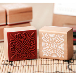Wholesale Antique Square Wood Stamp Lace Pattern Souvenir Gift Stamp Craft Ink Pad Stamp Promotion Gift SH697