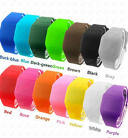 Wholesale top sale fashion color plastic silicone and jelly cheap colorful touch screen digital led wrist watches for men and women