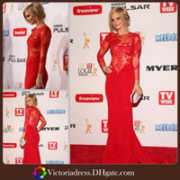 Wholesale Fantastic Sexy Mermaid Red Carpet Dresses Long Sleeve Bodice Lace Zipper Court Train Sexy Celebrity Gowns Women Evening Dress