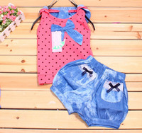 Girl Spring / Autumn Short Baby Girl 2 Piece Set Dot Chest Shirt Top+Short Denim Trousers Summer Children Outfits Set 00384