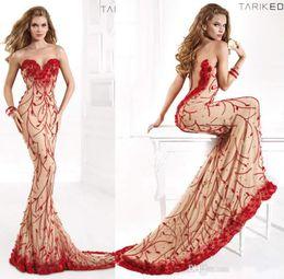 Wholesale New Champagne Red Evening Dresses Luxury Tarik Ediz Jewel mermaid Backless Celebrity Dress Appliques tarik ediz dresses Prom Gowns GG13