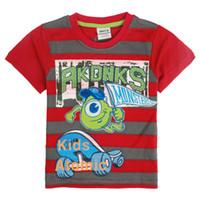 Boy Summer Standard Children short t shirt 2014 new striped and printing lovely animal hot summer t shirt for baby boys nova kids wear clothes C4961