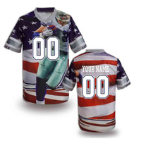 Wholesale 2014 Fashion Customized American Football Jerseys Cowboy USA Flag Printed Football Jerseys Personalized Football Shirt Size S to XL Jerseys