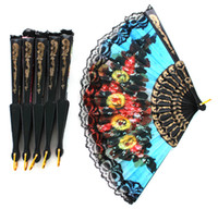Wholesale Colorful Ladys Embroidered Spanish Hand Lace Fan With Sequin Wedding Dancing Home Party