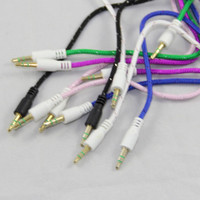 Wholesale 3 mm Jack M M Stereo Audio fabric woven nylon AUX Cable Cord For iPhone iPod