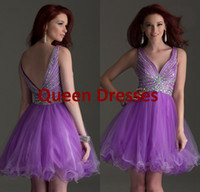 Model Pictures Organza V-Neck 2014 Lavender Short Homecoming Graduation Dresses Sexy Backless V Neck Crystal Beaded Corset Organza Mini Prom Dresses Ball Gown