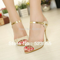Wholesale 2014 best price princess high heeled shoes open toe sandals summer dress shoes for women high quality sizes