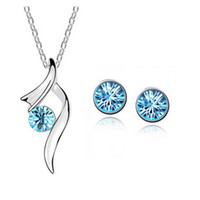Wholesale Hot Sale Cheap Promotion Fashion gold Plated Austrian Crystal Pendant Necklace Stud Earrings Wedding Jewelry Set For Women Swarovski element