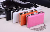 Wholesale New Fashion Box Clutches Bag Women Clutch Bags Chain Candy Color Evening Mini Handbag Shoulder Bags H10408