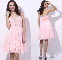 Reference Images Chiffon Sweetheart Pink A Line Chiffon Sleeveless 2014 Homecoming Dresses Custom Made Cocktail Prom Dresses Plus Size Cheap Party SWeetheart Sexy Knee Length