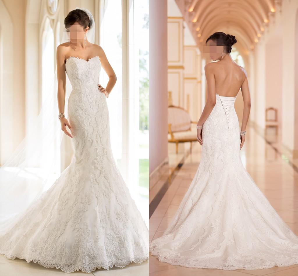 2015 Sweetheart Mermaid Wedding Dresses Sheer Lace