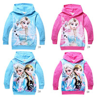 Girl Spring / Autumn Hooded Hot 2014 Frozen Baby Girls 2-8Yrs Elsa Anna Princess Hoodie Long Sleeve Terry Hooded Jumper Cartoon Hoodies Outerwear Kids Clothing J0473