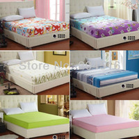 100% Cotton Hotal Adults wholesale printed solid color fitted bed sheet elastic mattress Cover protective case bedspread single full queen king size free