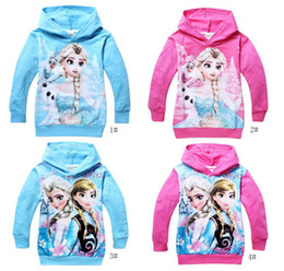 Wholesale EMS DHL Free Fast Shipping Frozen Baby Girls Yrs Elsa Anna Princess Hoodie Long Sleeve Terry Hooded Cartoon Hoodies Kids Clothing J0473